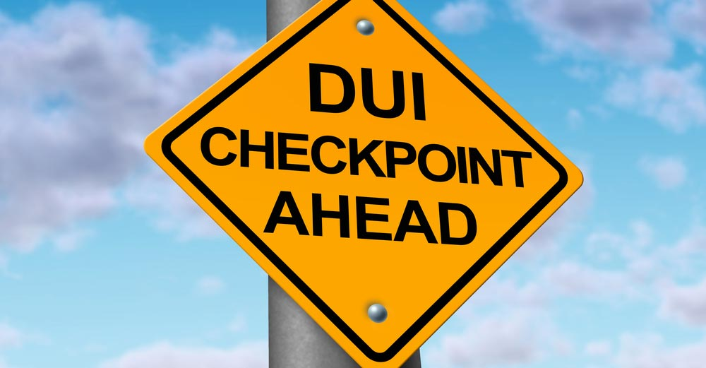 DUI checkpoint road sign